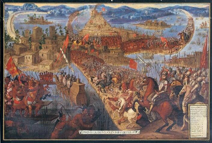 Slik kan det ha sett ut da spanjolene invaderte Azteker-byen Tenochtitlan. (Bilde: Ukjent)
