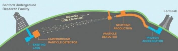 Nøytrinoene skal produseres på Fermilab i Illinois og fanges opp i DUNE-detektoren i South Dakota 1300 kilometer unna. (Illustrasjon: Sandbox Studios)