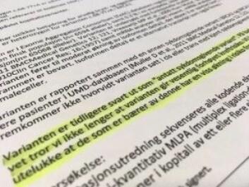 På bakgrunn av det vi nå vet tror vi ikke lenger at varianten gir vesentlig forhøyet kreftrisiko, sto det i brevet Karin fikk fra Oslo universitetssykehus.<br>(Foto: Anne Lise Stranden/forskning.no)
