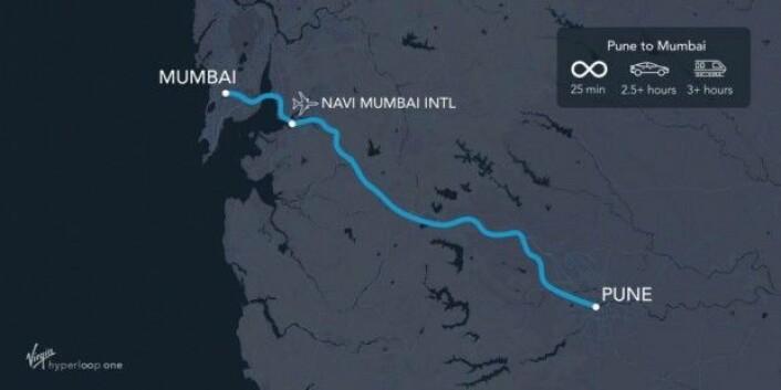 Den planlagte ruten mellom storbyene Mumbai og Pune vil angivelig åpne for tester i år 2021. (Illustrasjon: Virgin Hyperloop One)