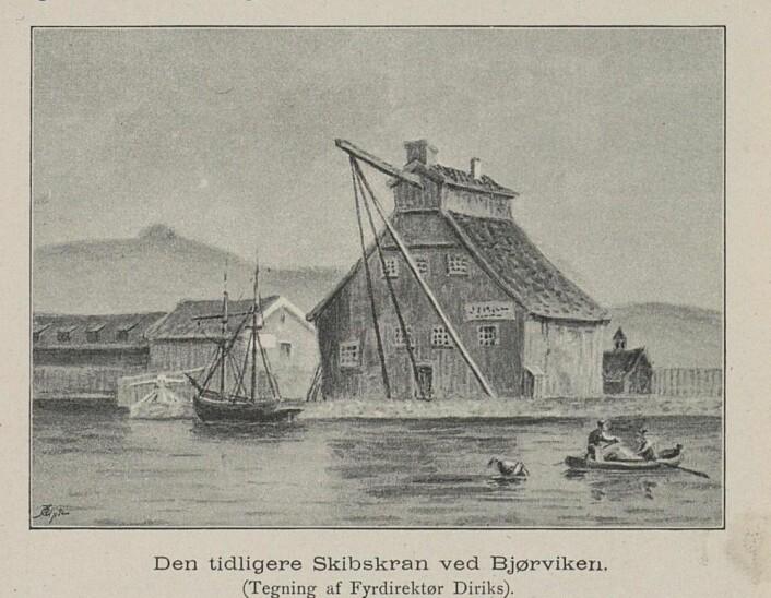 Historisk tegning av Brinchs kran fra 1893. (Bilde: Nasjonalbiblioteket)