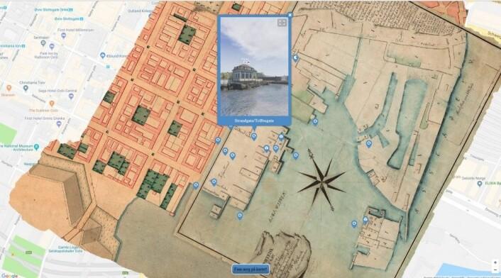 Sånn ser kartet som ligger over Google maps ut. (Skjermdump: Oslo havn 1798/Google)