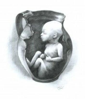 Rekonstruksjon av hvordan babyen kan ha ligget i krukken. (Tegning: Luca Kis)