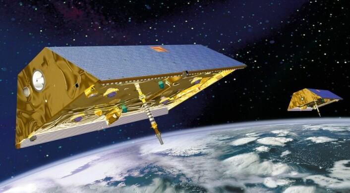 Grafikk av GRACE-satellittene i bane rundt jorden. (Bilde: NASA)