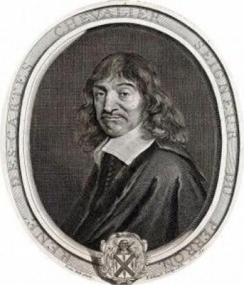 Den franske filosofen René Descartes tvilte på alle sansene våre, men han var sikker på at han eksisterte. Fra han kommer utsagnet: Jeg tenker, derfor er jeg. (Inngravering: Gérard Edelinck, om lag 1640–1707)