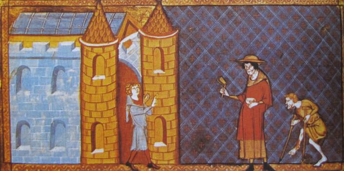 Bilde fra 1300-tallet som viser to spedalske som ikke får slippe inn i en by. (Bilde: Miniatyr)