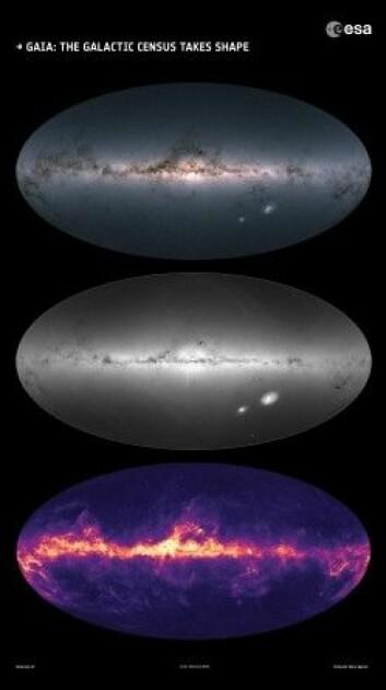 Gaias målinger av lysstyrken og fargen til stjerner i og utenfor Melkeveien (øverst), tettheten til disse stjernene (midten), samt interstellart støv i galaksen (nederst). (Foto: ESA/Gaia/DPAC)