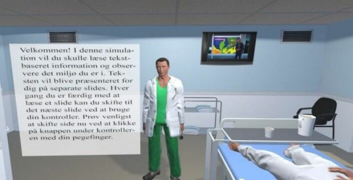 Bilde av en av de simuleringene forskerne tester. (Illustrasjon: Sarune Baceviciute/KU)