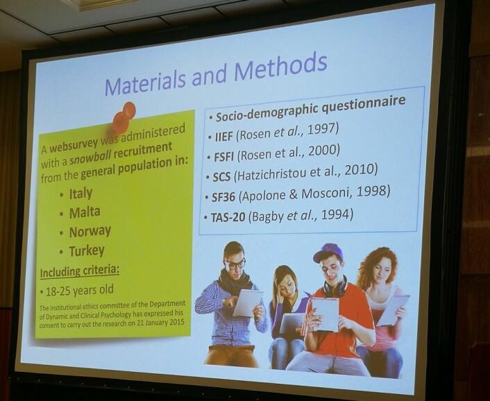 Bilde fra presentasjonen om studien av de ungdom fra Norge, Malta, Italia og Tyrkia. (Foto: Marianne Nordahl)