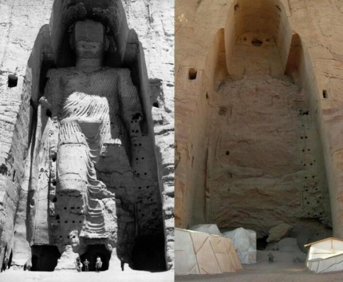 Den gigantiske Buddha-statuen i Afghanistans Bamiyanprovins før og etter Talibans ødeleggelser. (Foto: Wikimedia Commons/Carl Montgomery)