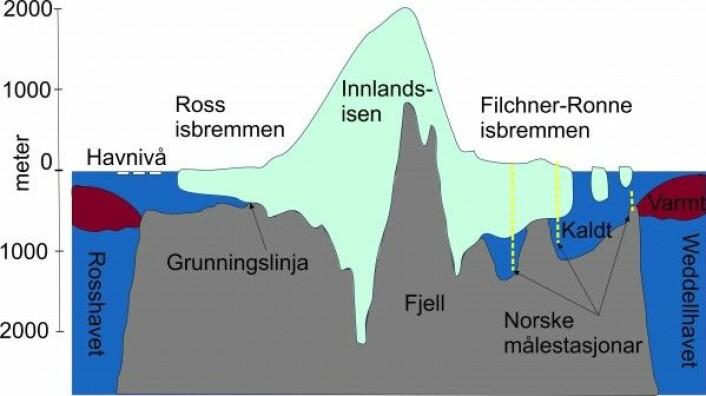 Dette snittet gjennom Vest-Antarktis frå Rosshavet til Weddellhavet viser at Innlandsisen når opp i over 2000 meter over havet og ligger på grunn på meir enn 2000 meter under havoverflata. Havvatnet rundt Antarktis er kaldt, men ute på kontinentalskråninga er det eit belte av varmt vatn. (Illustrasjon: Svein Østerhus)