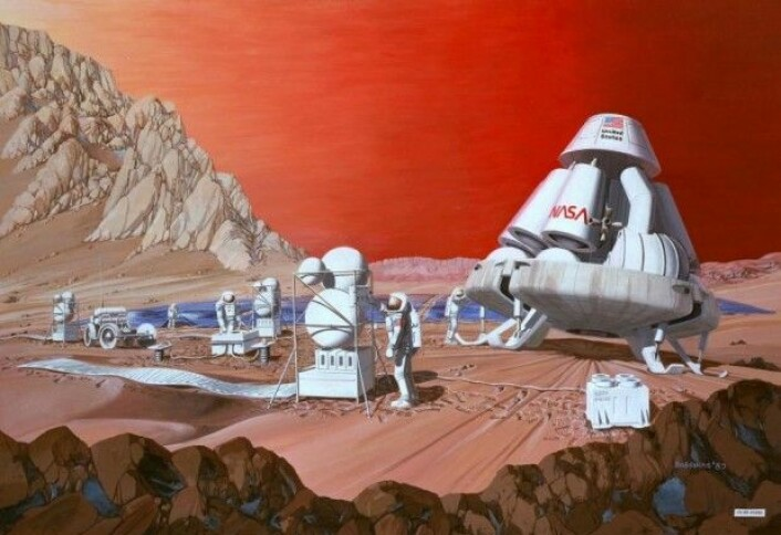Vil vi kunne bo på Mars i fremtiden? (Illustrasjon: Les Bossinas of NASA Lewis Research Center)