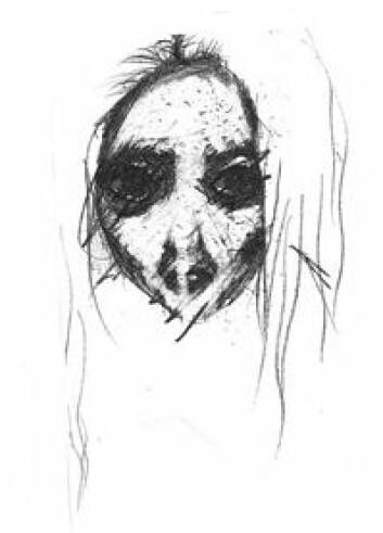 Bildet er tegnet av en ungdom som ble oppfordret til å illustrere de vonde følelsene som var vanskelig å sette ord på. Ansiktet mangler munn til å uttrykke følelsene med. (Foto: Privat)