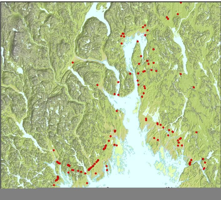 Kartet viser steinalderboplasser i Oslofjordområdet. (Bilde: Solheim, Persson: Early and mid-Holocene coastal settlement and demography in southeastern Norway: Comparing distribution of radiocarbon dates and shoreline-dated sites, 8500–2000 cal. BCE)
