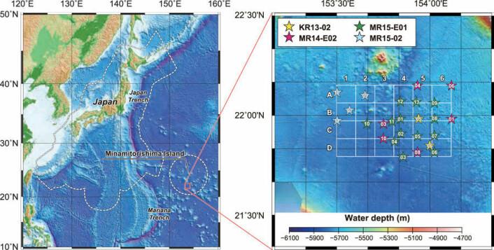 Funnet er gjort i havet langt øst for Japan, men innenfor et område som tilhører japanerne. Den stiplede linjen viser det som ifølge japanerne er deres territorialfarvann. (Kart fra forskningsartikkelen)