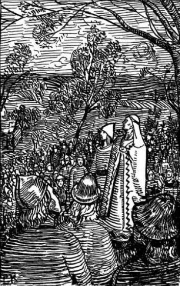 Enkedronning Astrid taler til svenskene om å støtte stesønnen Magnus Olavsson. (Illustrasjonsfoto: Wikimedia Commons)