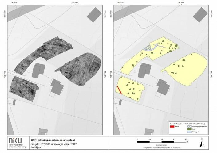 Georadar resultater på Rødskjær som viser utbredelsen av groper utenfor det utgravde området. (Foto: Manuel Gabler, NIKU)