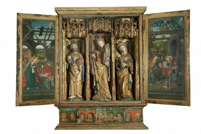 Dette alterskapet fra Austevoll kirke er et av skapene Kausland mener er laget i Nederland. (Foto: Svein Skare, Bergen Historiske museum, Universitetet i Bergen)