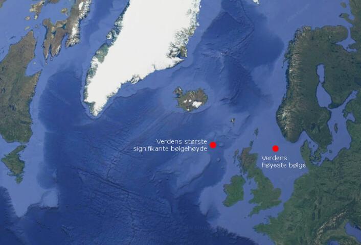 Verdens høyeste enkeltbølge målt av en fast installasjon – «Draupner-bølgen» – var på 25,6 meter. Den slo inn over Draupner-plattformene i Nordsjøen nyttårsnatten 1995. Verdens høyeste bølger over et tidsrom på 20 minutter (signifikant bølgehøyde) ble målt i havet mellom Island og Skottland i februar 2013. Antakelig finnes også de aller største enkeltbølgene i havet sør for Island, uten at disse noen gang er blitt målt sikkert. (Grafikk: forskning.no)