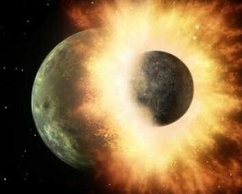 Den nye studien støtter en teori om at månen ble skapt ved et gigantisk sammenstøt mellom jorden og et annet himmellegeme. (Illustrasjon: NASA/JPL/Calltech)