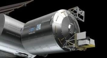 Her ser du hvordan ASIM-instrumentpakken vil se ut når den er festet til den internasjonale romstasjonen ISS. Derfra skal den gi forskerne målingene de trenger for å finne svar. (Illustrasjon: ESA CDS)