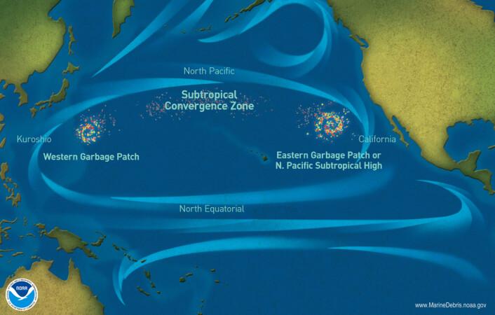 """De store søppelflekkene i Stillehavet. Sammen utgjør de """"The great pacific garbage patch"""". De ser ikke ut som flytende øyer med plast, siden mange av bitene er så små, men konsentrasjonen med plastsøppel er veldig høy her, siden det samles opp, ifølge NOAA. (Bilde: National Oceanic and Atmospheric Administration (NOAA)"""