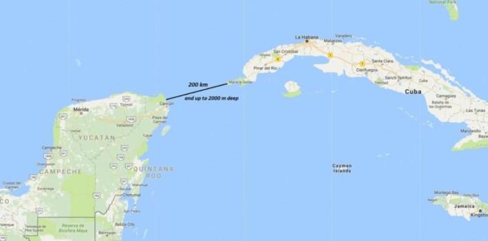 Forskerne ser muligheten for å montere rør over hele Yucatan-stredet eller ut fra land langs kysten. Dette er et område som rammes hardt av orkaner. (Illustrasjon: Sintef)