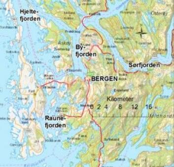 Her ser du fjordene som forskerne har undersøkt. (Kartkilde: ArcGis)
