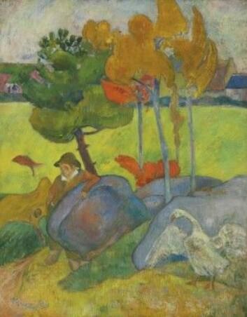 «Liten bretoner med gås» integrert i landskapet. Malt av Paul Gaugauin i 1889. (Foto: Wikipedia)