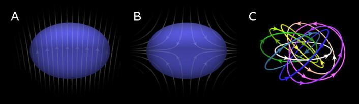 Figuren viser hvordan forskerne utsatte Bose-Einstein-kondensatet for magnetfelt utenfra, først et ensartet magnetfelt (1) og så to motsatt rettede magnetfelt som opphevet hverandre i midten (2). Den siste figuren viser eksempler på magnetiske feltlinjer som oppstår i skyrmionet. (figur: Fra artikkelen i Science Advances)