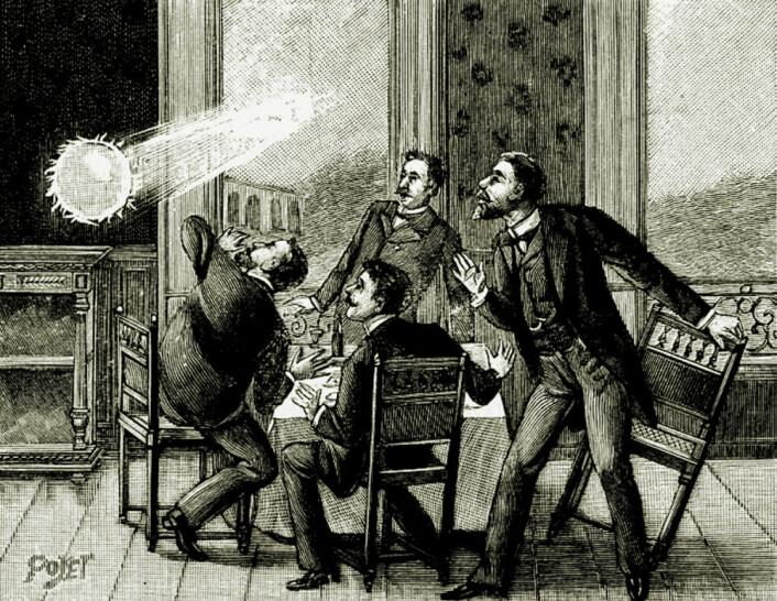 Kulelyn er sett gjennom mange århundrer, men sjelden fotografert. Først i 2014 ble det filmet. Denne illustrasjonen er fra 1901. (Illustrasjon: ukj.)