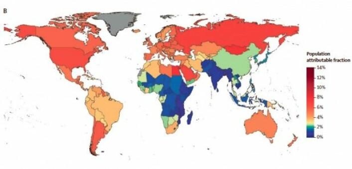 """Kartet viser hvor stor andel av alle krefttilfeller som kan tilskrives overvekt i de enkelte landene. Data stammer fra 2012. (Illustrasjon: The Lancet Diabetes <span class=""""amp"""">&amp;</span> Endocrinology)"""