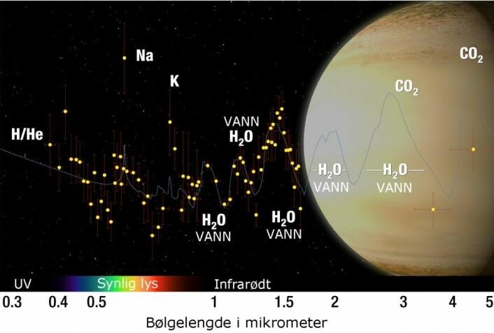 Den blå kurven viser hvordan fargene fordeler seg i lyset fra stjerna, sett gjennom atmosfæren til kjempeplaneten WASP-39b. Under viser regnbuen omtrentlig området for synlig lys. Til venstre er de korteste bølgelengdene, ultrafiolett lys. Til høyre er infrarødt lys med de lengste bølgene. (Bilde: NASA, ESA, G. Bacon and A. Feild (STScI), and H. Wakeford (STScI/Univ. of Exeter) – bearbeidet av forskning.no)