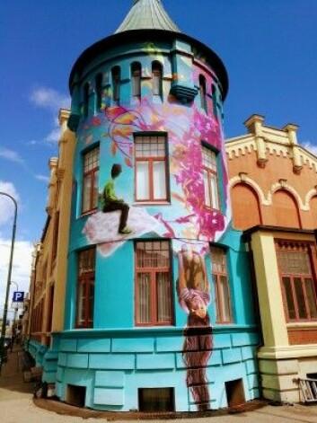 """Det skapte store reaksjoner da byantikvaren ville fjerne gatekunsten på Musikkens hus i Kristiansand, malt av Sedin Zunic. (Foto: Sedin Zunic / <a href=""""http://coolart.no"""">Coolart.no</a>)"""