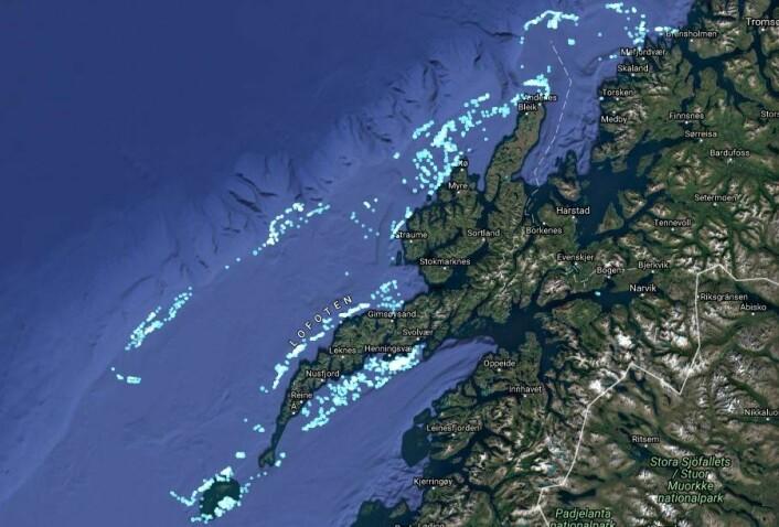 Nå foregår fisket etter skreien utenfor Lofoten og Vesterålen og her ble det fisket 18. februar. Du kan følge med på aktiviteten til fiskefartøy både her og i resten av verden.