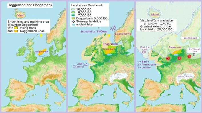 Kartet viser Doggerland gjennom flere tidsperioder. (Bilde: Francis Lima/CC BY-SA 4.0)