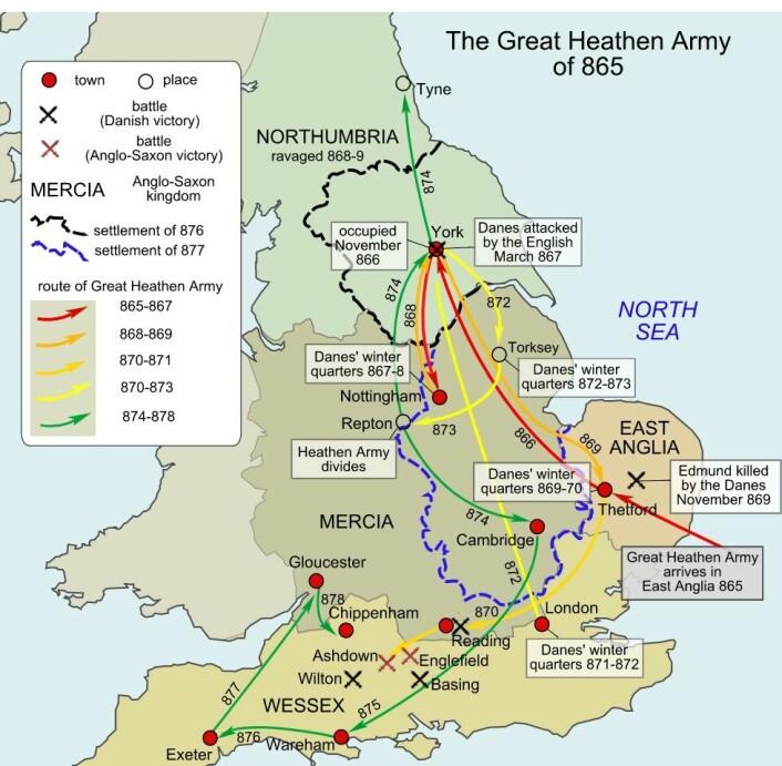 Dette kartet viser hvordan hæren reiste rundt blant de britiske kongedømmene. (Bilde: Hel-hama/CC BY-SA 3.0)
