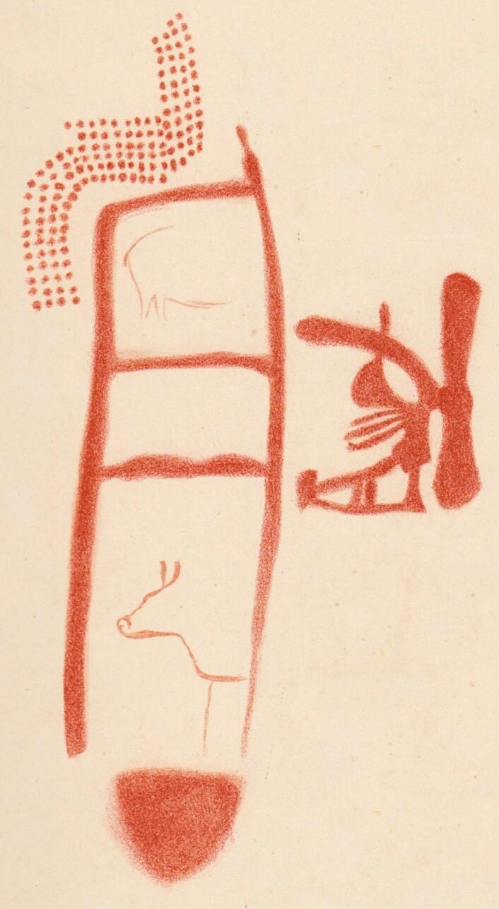 En rekonstruksjon av trappetegningen, som kan ha blitt laget av neandertalere. Dette er en rekonstruksjon laget i 1913 (Bilde: Breuil et al. (1913)