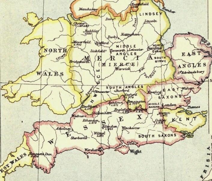 Slik så grensene mellom kongedømmene på den Britiske øya ut rundt år 860. (Bilde: Bartholomew, J. G.)