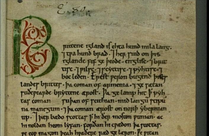 Dette er første side til en av bøkene i Den angelsaksiske krøniken. Denne boken dekker perioden mellom 1122 og 1154. (Bilde: Public domain)