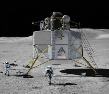 Månelandingsfartøyet Altair var en del av romprogrammet Constellation, som ble skrinlagt av president Obama i 2010. Fartøyet skulle oppholde seg på Månen i en uke med fire astronauter ombord. (Illustrasjon: NASA)
