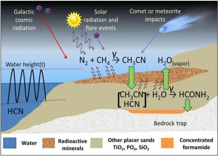 På den tidlige jordkloden kunne acetonitril og blåsyre bli gjort om til formamid, der biologiske molekyler kunne oppstå. Det krever imidlertid energi i form av radioaktiv stråling. (Illustrasjon: Adam et al./Scientific Reports)