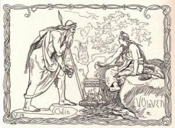 I tegningen ser du Odin besøke Vølven, en respektert og fryktet trollkvinne, en mester i seid (magisk teknikk), spådomskunst og galdr (besvergelser/trolldomssang). Ritualene innebar sjamanisme, ofte ved bruk av tromme. Blant samene hadde noaiden et lik funksjon, hvor joik og bruk av runebomme inngikk i det magiske repertoaret. (Illustrasjon: «Odin og Vølven» av Lorenz Frølich, 1895 / NTNU UB)