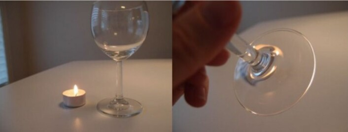 Illustrasjon av gravitasjonslinseeffekten. Til venstre: Et vinglass («gravitasjonslinsen») og et stearinlys (en «fjern galakse»). Til høyre: Stetten på glasset holdes opp mellom observatøren og stearinlyset og fungerer som en linse. Da ser vi flere (fordreide) bilder av lyset på litt ulik posisjon. (Foto: Anna Kathinka D. Evans)