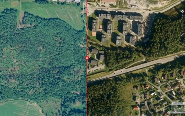 """Bildeserien viser endringen i arealbruk fra skog til bebyggelse. <a href=""""http://kilden.nibio.no"""">Her kan du se</a> hvordan endringer i arealbruk påvirker stedet der du bor, eller der du har hytte. Bildet er fra Ski i Akershus. (Foto: NIBIO Kilden)"""