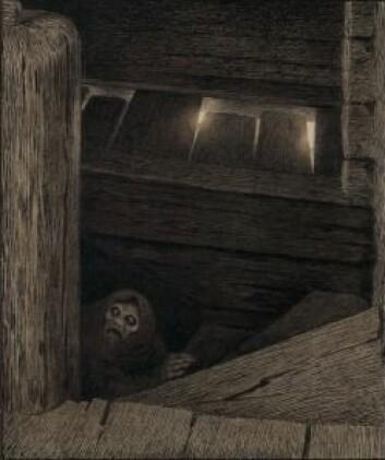 Pesten hjemsøkte også norske hjem, her i Theodor Kittelsens skumle framstilling av Pesta i trappen. (Illustrasjon: Theodor Kittelsen, 1894-95. Foto: Morten Thorkildsen, Nasjonalmuseet)