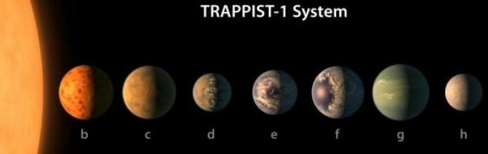 De syv planetene er omtrent like store som jorden. Tegningen her viser det innbyrdes størrelsesforholdet. (Illustrasjon: NASA/R. Hurt/T. Pyle)