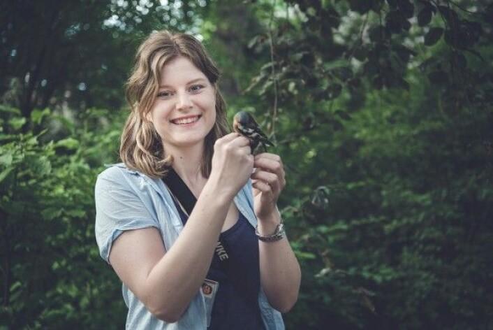 """Hanna Støstad med et av sine forskningsobjekter – en bokfink – i Botanisk hage i Oslo. (Foto: Benjamin A. Ward/benjaminward.no <a href=""""https://creativecommons.org/licenses/by/4.0/deed.no"""">CC BY 4.0</a>)"""