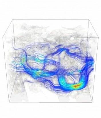 Dette er en simulering av hvordan vann strømmer gjennom en kalkstein. Fysikken som beskriver vann- og oljetransporten i reservoarstein, er den samme som beskriver strømning i blodårer. (Foto: IRIS)