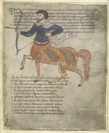 Stjernebildet Sagittarius – skytten – i et av Knut den Stores engelske manuskripter. (Foto: British Library Tiberius B.V.)